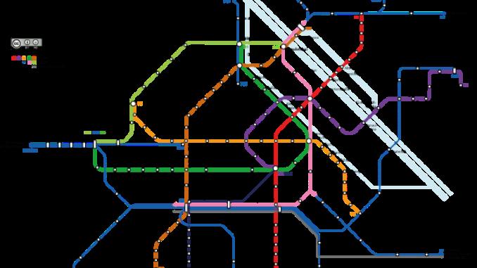 Detalle del mapa del metro de Viena