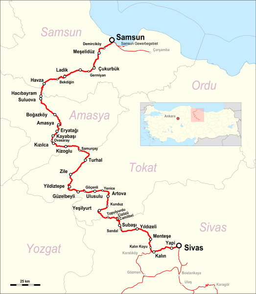 Sivas – Samsun Railway Map