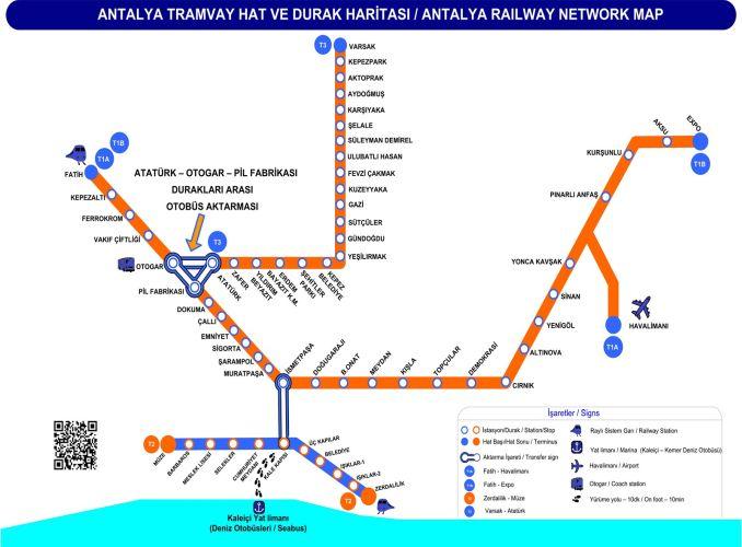 Antalya tram map