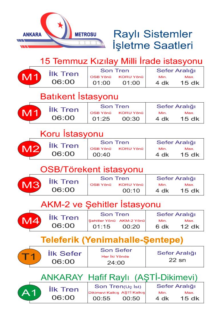 ankara last train schedule