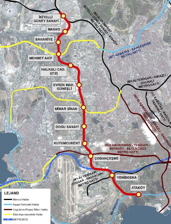 Ataköy İkitelli Metro Güzergah Haritası