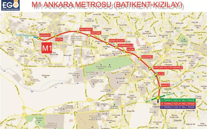 m1 ankara kizilay metro istasyonlari