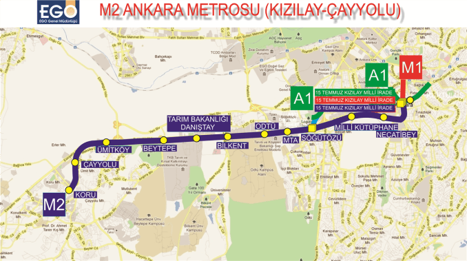 m2 linea kizilay cayyolu metro