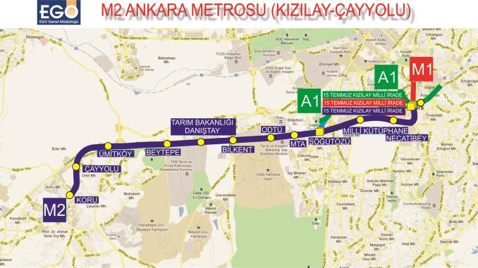 m2 kizilay cayyolu metro line