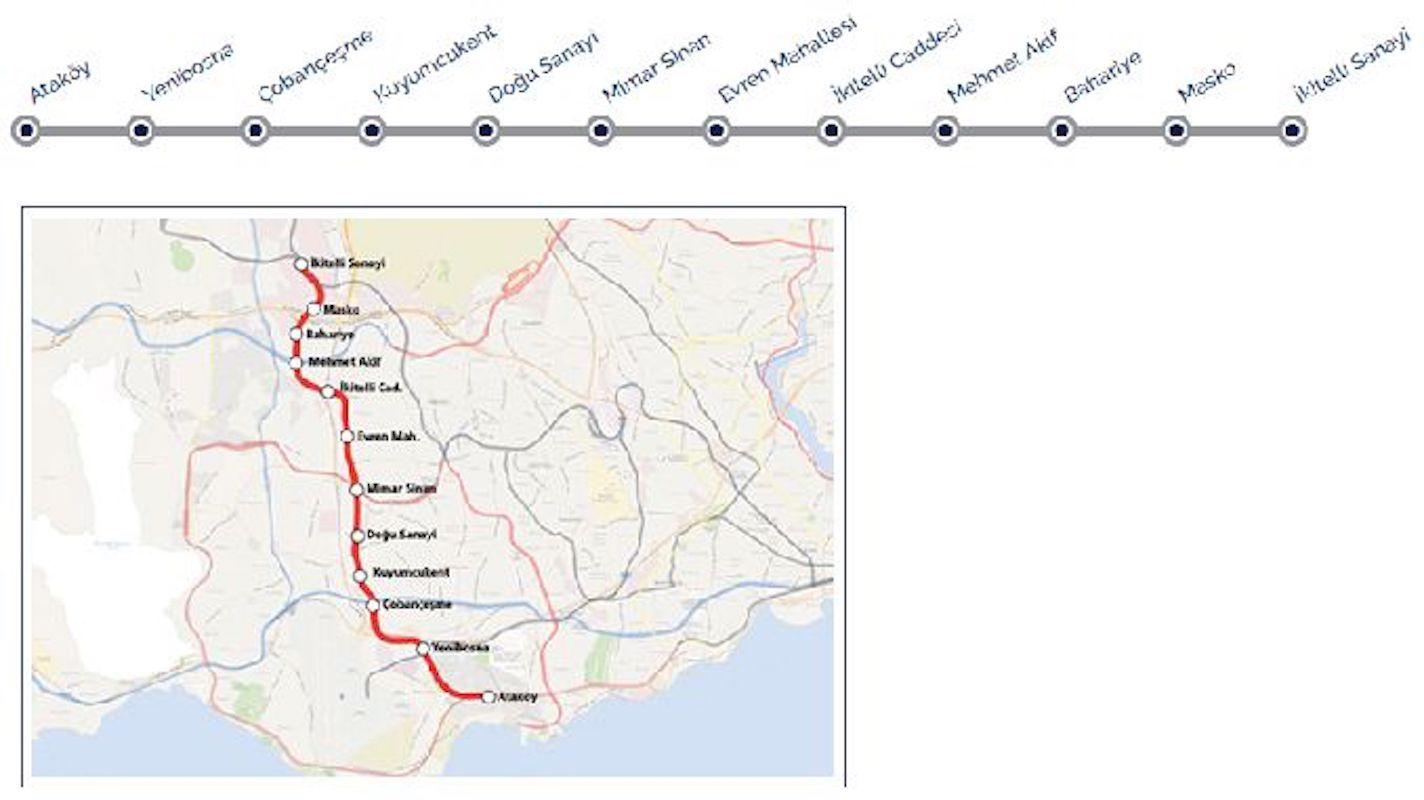 Ataköy İkitelli Metro Hatti Harita