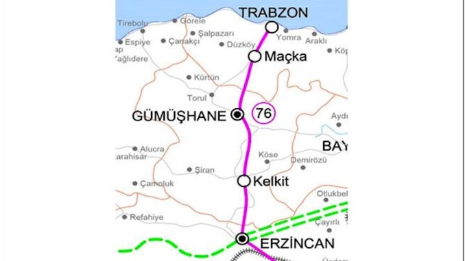 Erzincan Gumushane Trabzon railway line