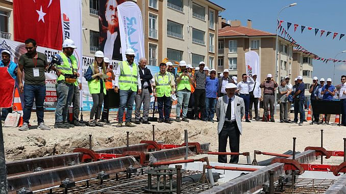 Eskişehir city center tram line laid foundation