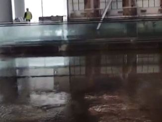 flooded airport terminal