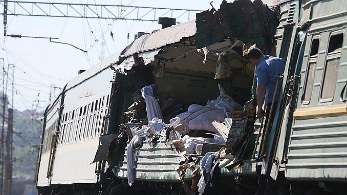 train crash on the railway pass at the krasnodar region of rusyanin