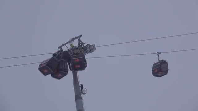 5 lift wagon in the ski resort in the alps