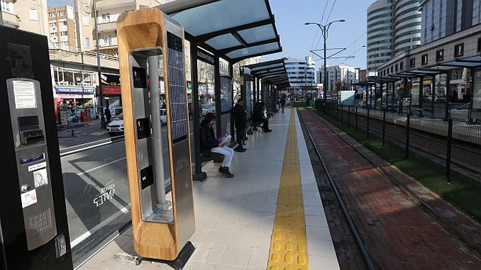 solar charging station at tram stops in gaziantepte
