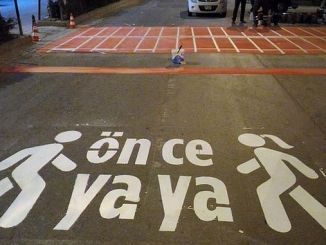 Pedestrian work before karaman municipality