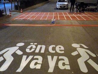Pedestrian work before karaman municipality