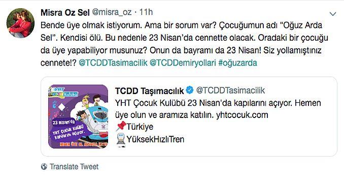 ميسرا أوزدن tcddye cocuk kulubu استجابة