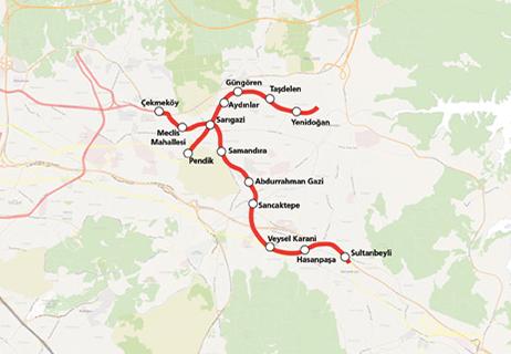 ekmeköy Sultanbeyli Metro Hattı haritası