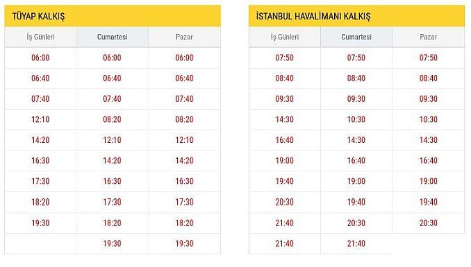 ST Tüyap İstanbul Havalimanı Hareket Saatleri