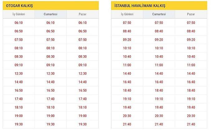 ST Otogar İstanbul Havalimanı Otobüs Saatleri