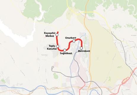 Başakşehir Kayaşehir Metro Hattı Uzatması haritası
