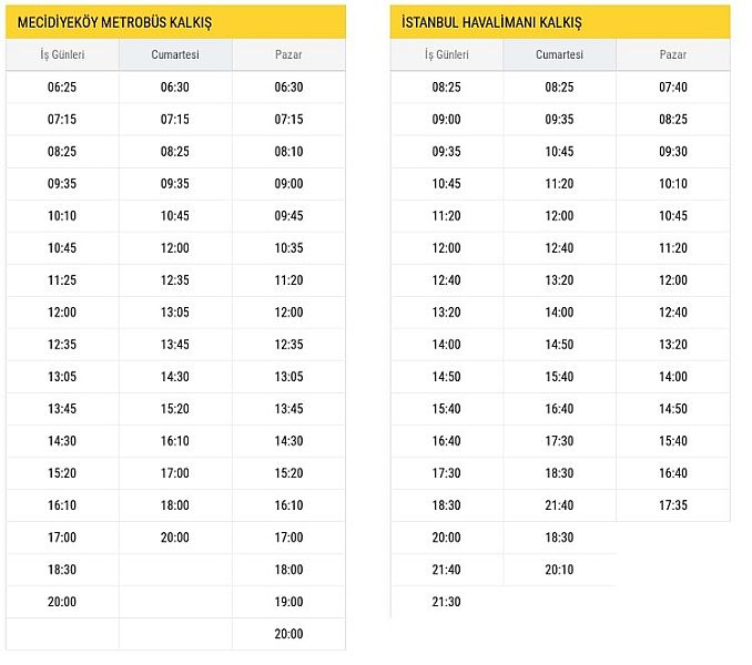 H Mecidiyeköy New Airport Departure Hours