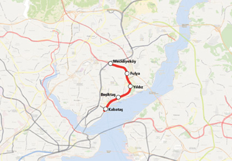 Kabatas Mecidiyekoy Metro Line map