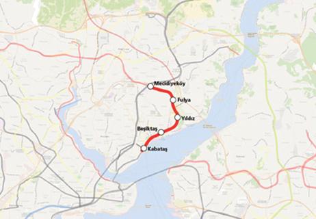 Kabataş Mecidiyeköy Metro Line map