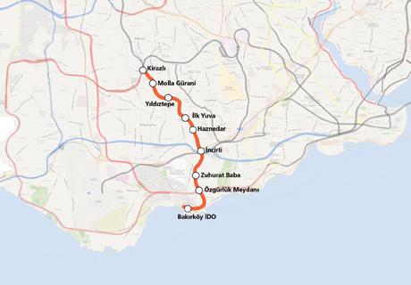 Kirazlı Bakırköy İDO Metro Hattı haritası