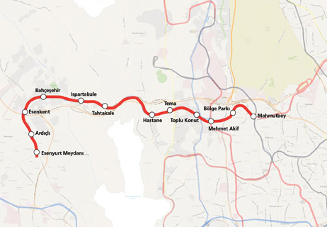 Mahmutbey Esenyurt Metro Line map