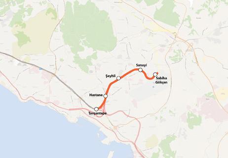 Tavşantepe Sabiha Gökçen Metro Line map