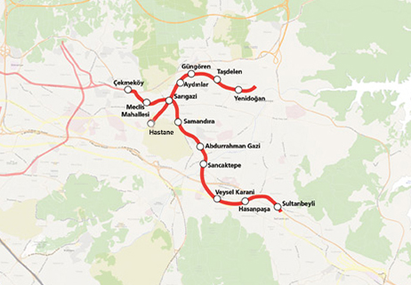Yenidogan Hospital Metro Line map