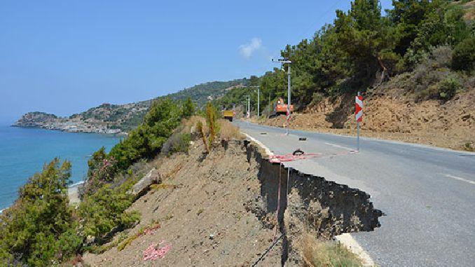 gazipasa alanya coastal road is being made safe