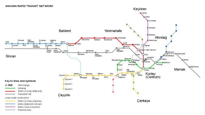Ankara raylı sistem haritası