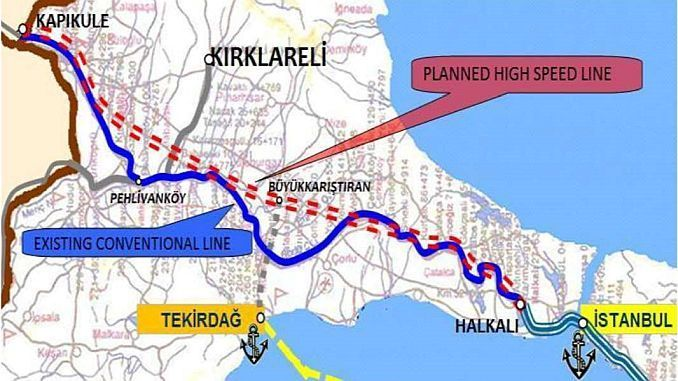 Halkalı Edirne High Speed Line Route
