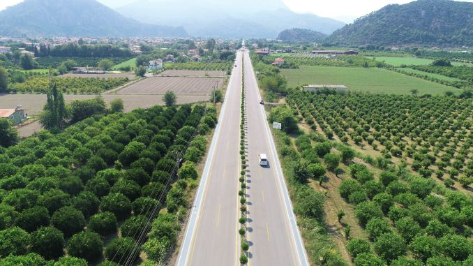 ortaca dalyan road with renewed face started to serve