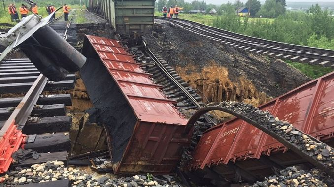 russian culvert coktu komur load train derailed