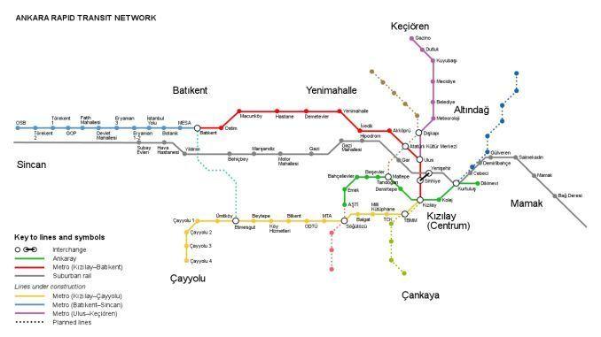 Ankara raudteesüsteemi kaart
