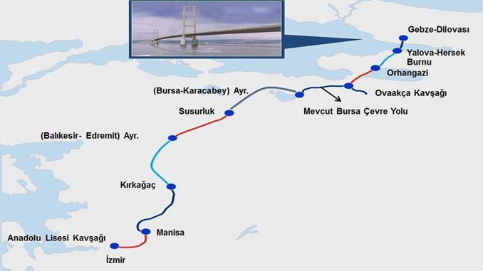 karta autoputa Istanbul Izmir