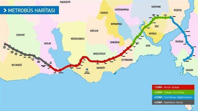 Istanbul Metrobus Stations Map Rayhaber