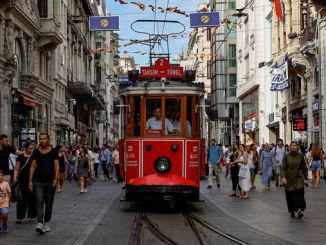 nostalgic tram traveling in history in istanbul