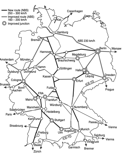 Map of Germany High Speed ​​Train