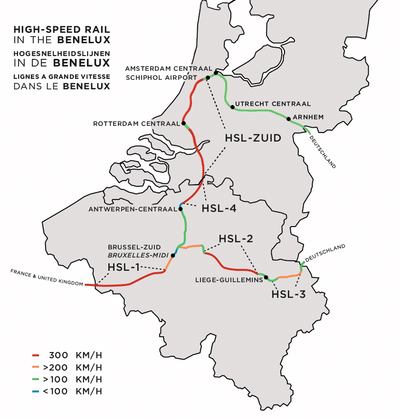 Map of Belgium Fast Train