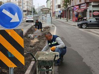 Straßenbahnarbeiten in Eskişehir Abgeschlossene Arbeiten an Straße und Boulevard