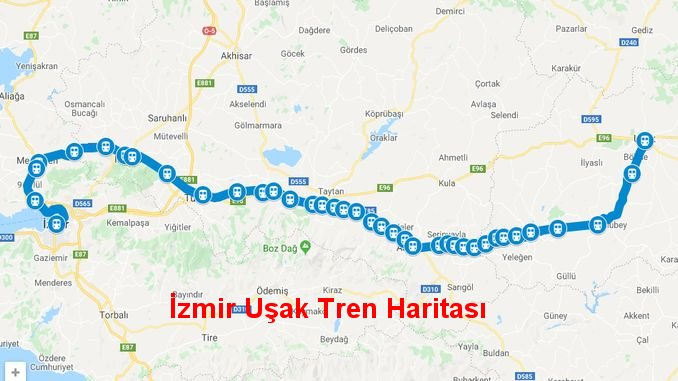 izmir usak train times and map
