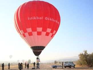 overlooking the first domestic hot air balloon with varank uctu