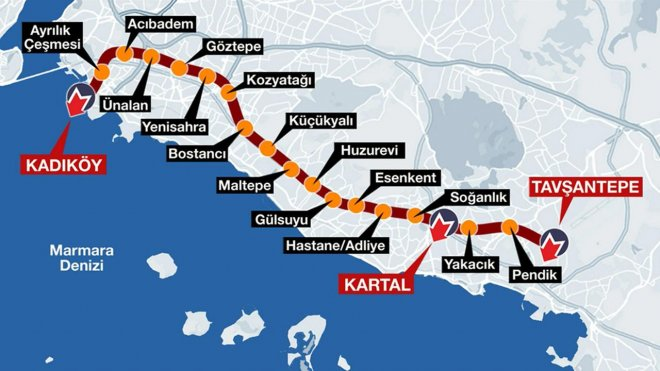 Kadıköy Route of Tavsantepe Metro Stops