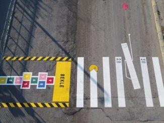 colorful motifs to create awareness in pedestrian crossings