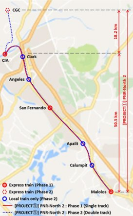 Map of Malolos Clark Railway Project