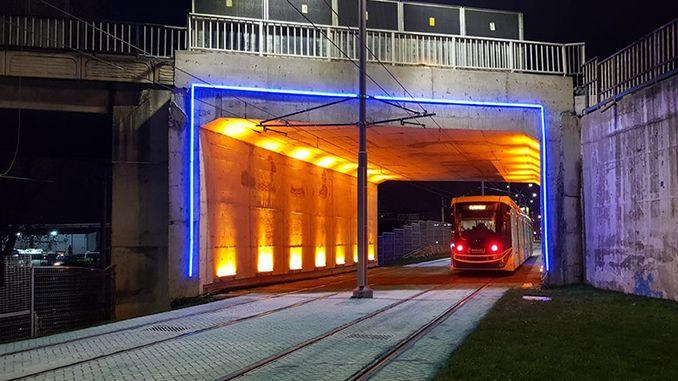 akcaray line beach way tram crossing wasil thermal