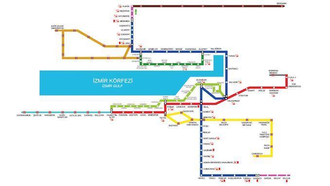 Izmir Metro Saatleri lippujen hinnat - Asemat ja kartta