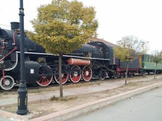 steam locomotives on display in malatya train garin await visitors