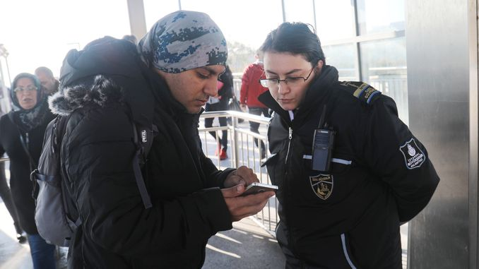female security personnel on the metrobus line